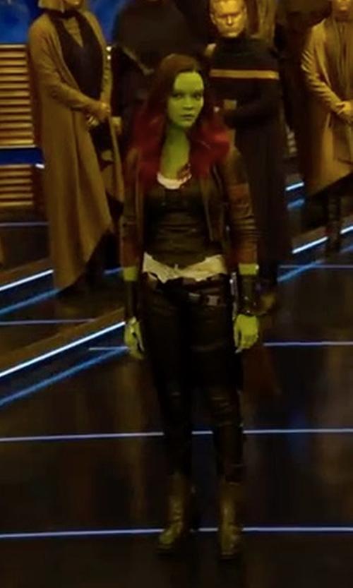 Zoe Saldana with Judianna Makovsky (Costume Designer) Custom Made Gamora Costume in Guardians of the Galaxy Vol. 2