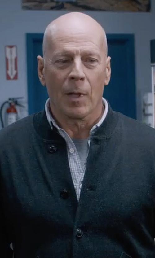 Bruce Willis with Gant Rugger Dreamy Oxford Windowcheck Shirt in Death Wish
