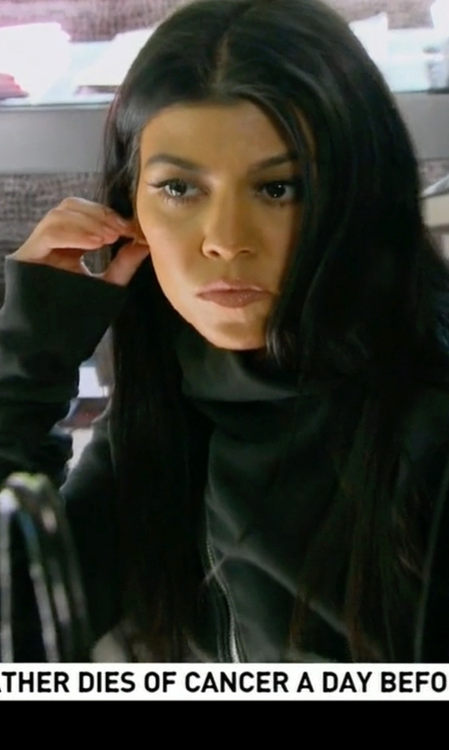 Kourtney Kardashian with Rick Owens Asymmetric Zip Sweatshirt in Keeping Up With The Kardashians