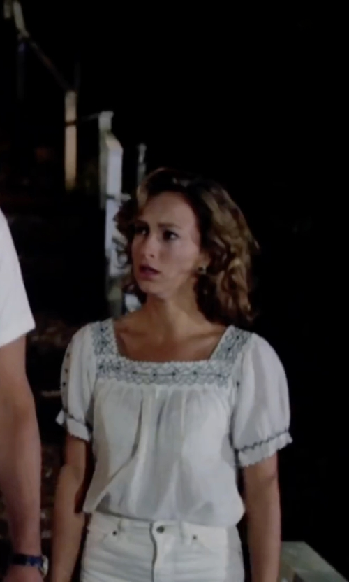 Jennifer Grey with Joie 'Dolina E' Embroidered Top in Dirty Dancing
