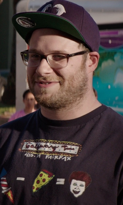 Seth Rogen with Odd Future Jasper Dolphin Snapback Hat In Navy in Neighbors