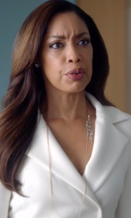 Gina Torres with Lana Jewelry Tri Bar Necklace in Suits