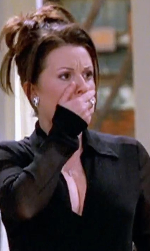 Megan Mullally with T By Alexander Wang Crêpe Blouse in Will & Grace