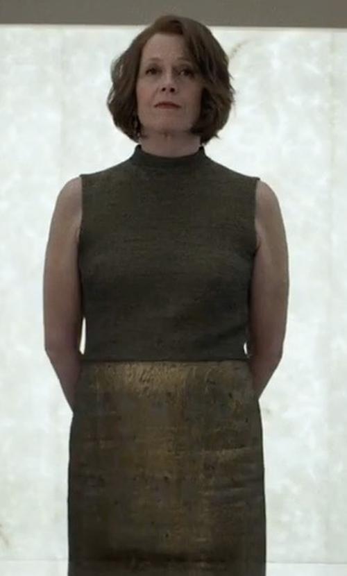 Sigourney Weaver with Iro Bump Sequin Midi Skirt in Marvel's The Defenders