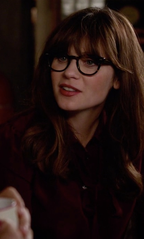 Zooey Deschanel with Frank & Eileen Long-Sleeve Button-Front Blouse in New Girl