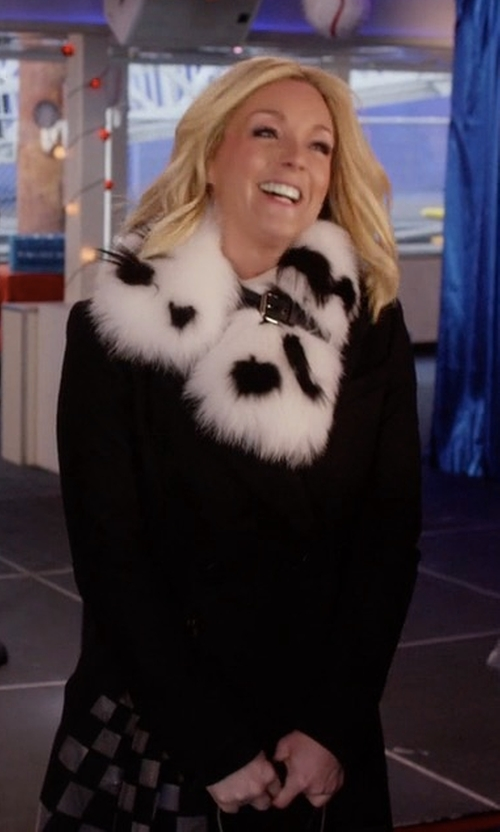 Jane Krakowski with Fendi Grid Tulle-Inlay Fleece Coat in Unbreakable Kimmy Schmidt