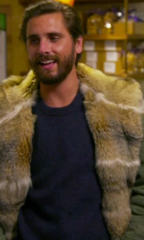 Scott Disick with Ermanno Scervino Army Green Fur Lined Hooded Jacket in Keeping Up With The Kardashians