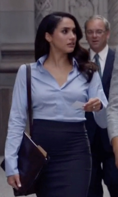 Meghan Markle with Michael Kors Collection French-Cuff Patch-Pocket Blouse in Suits