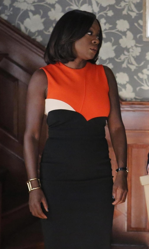Viola Davis with Victoria Beckham Colorblock Sheath Dress in How To Get Away With Murder