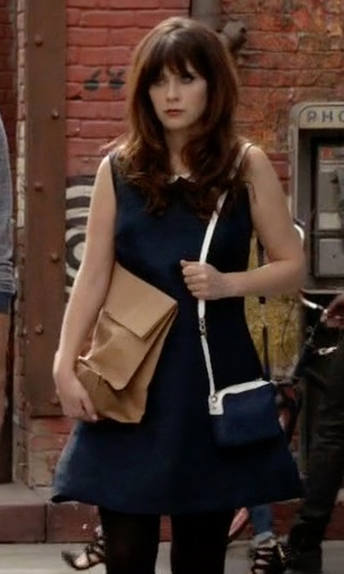 Zooey Deschanel with Senza Tempo Lawson Dress (Collar Added) in New Girl