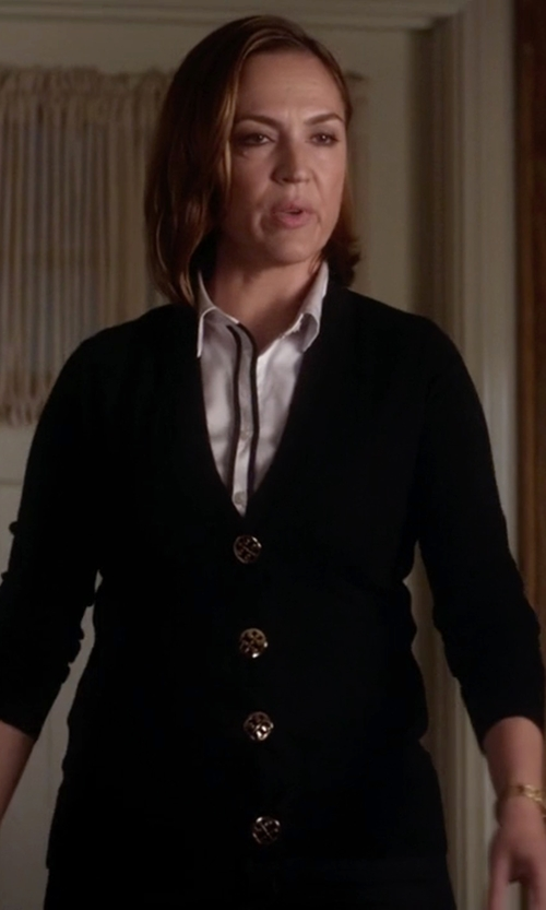 Lesley Fera with Tory Burch  Simone Button-Front Wool Cardigan  in Pretty Little Liars