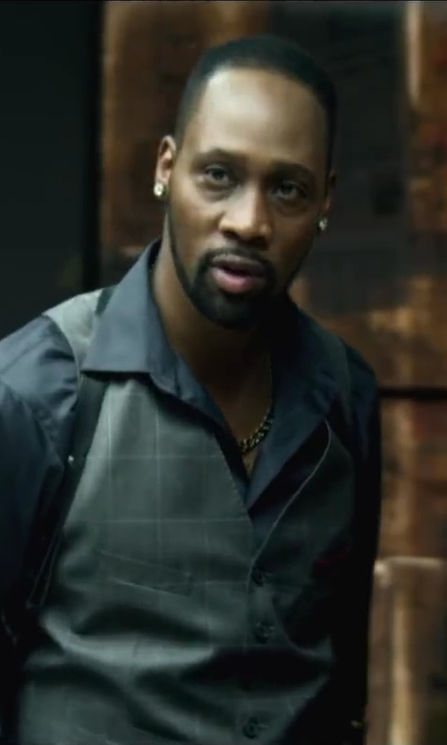 RZA with Armani Collezioni Solid Neat Dress Shirt in Brick Mansions