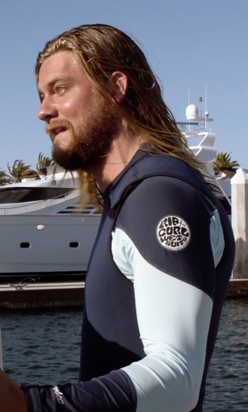 Jake Weary with Rip Curl Aggrolite UV Tee Wetsuit in Animal Kingdom