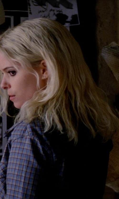 Kate Mara with A.P.C. Blue Plaid Cotton Dakota Shirt in Transcendence