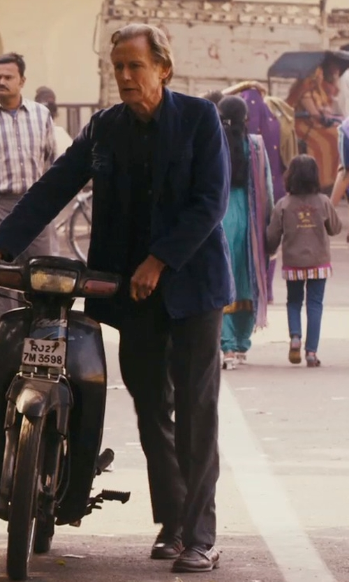 Bill Nighy with Salvatore Ferragamo Lionel Leather Penny Loafer Shoes in The Second Best Exotic Marigold Hotel