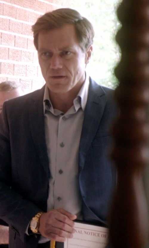 Michael Shannon with Theory Sylvain Solid Dress Shirt in 99 Homes