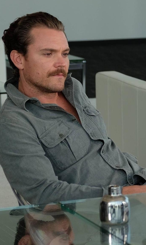 Clayne Crawford with Theory Drato Button-Front Shirt Jacket in Lethal Weapon