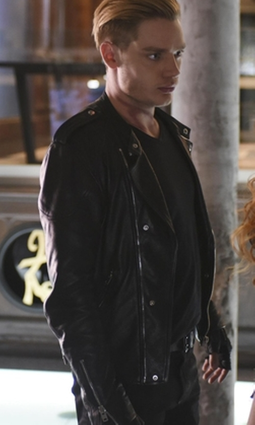 Dominic Sherwood with Topman Leather Biker Jacket in Shadowhunters
