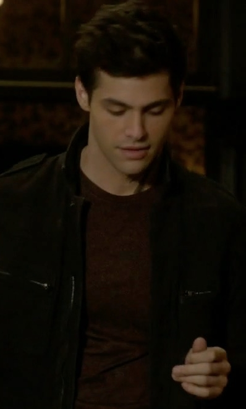 Matthew Daddario with All Saints Novi Leather Shirt in Shadowhunters