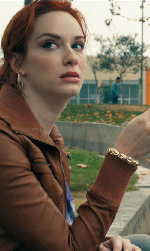 Christina Hendricks with Papaya Zippered Rider Jacket in Drive