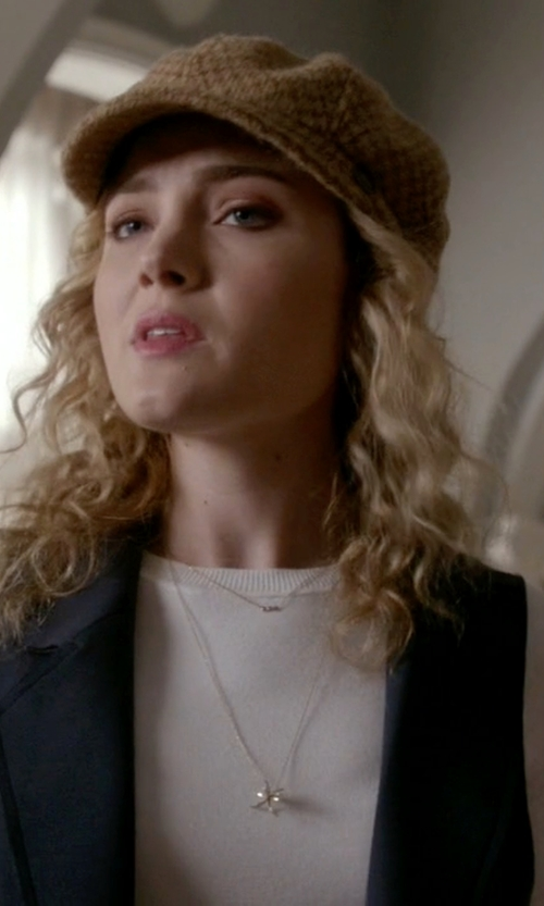 Skyler Samuels with Crowe Three Peat Necklace in Scream Queens