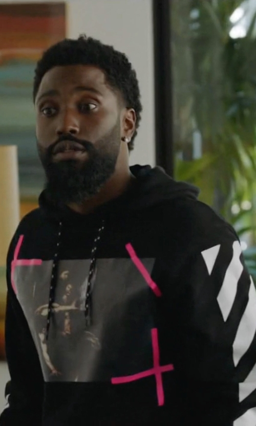 John David Washington with Off-White C/o Virgil Abloh Caravaggio Hoodie in Ballers