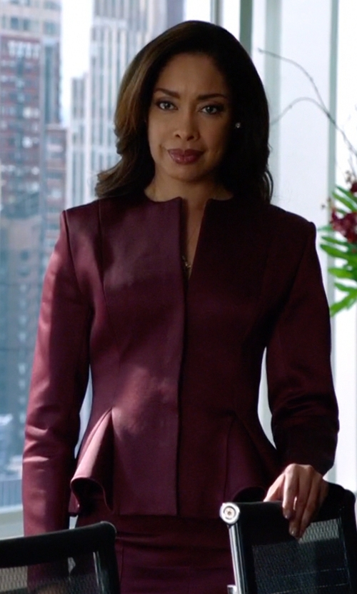 Gina Torres with Christopher Kane Satin Peplum Jacket in Suits