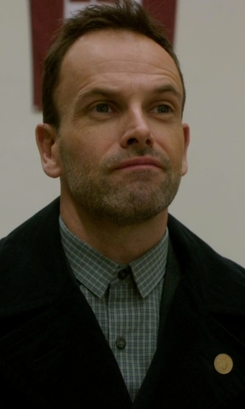 Jonny Lee Miller with Cego Custom Made Plaid Button Shirt in Elementary