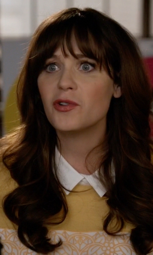 Zooey Deschanel with Tory Burch Edwina Embroidered Panel Collared Sweater in New Girl
