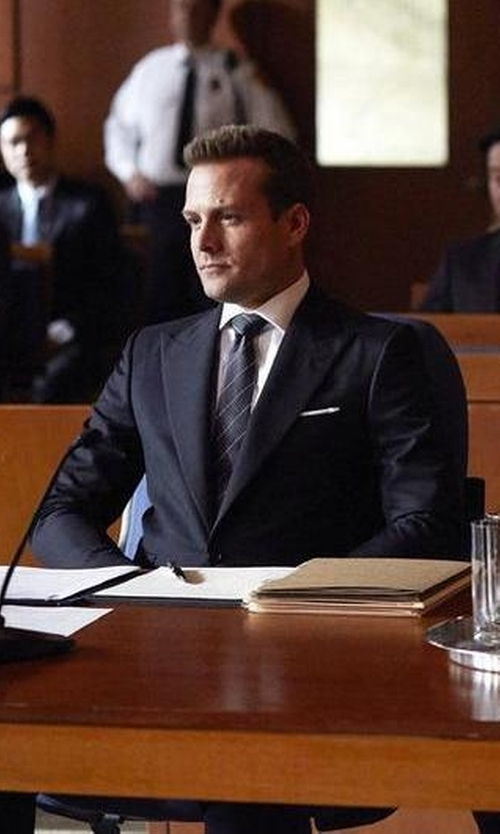 Gabriel Macht with Ralph Lauren Striped Silk Repp Tie in Suits