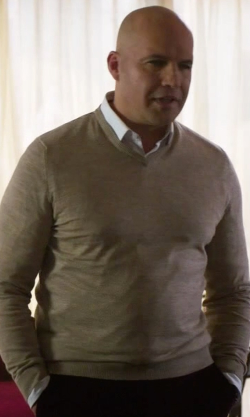 Billy Zane with Peter Millar Merino V-Neck Sweater in Guilt