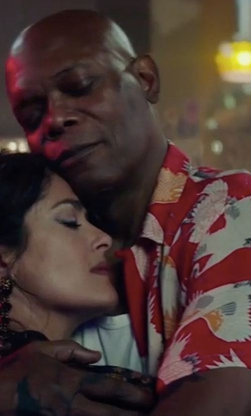 Samuel L. Jackson with Stussy Falcon Button Down Shirt in The Hitman's Bodyguard