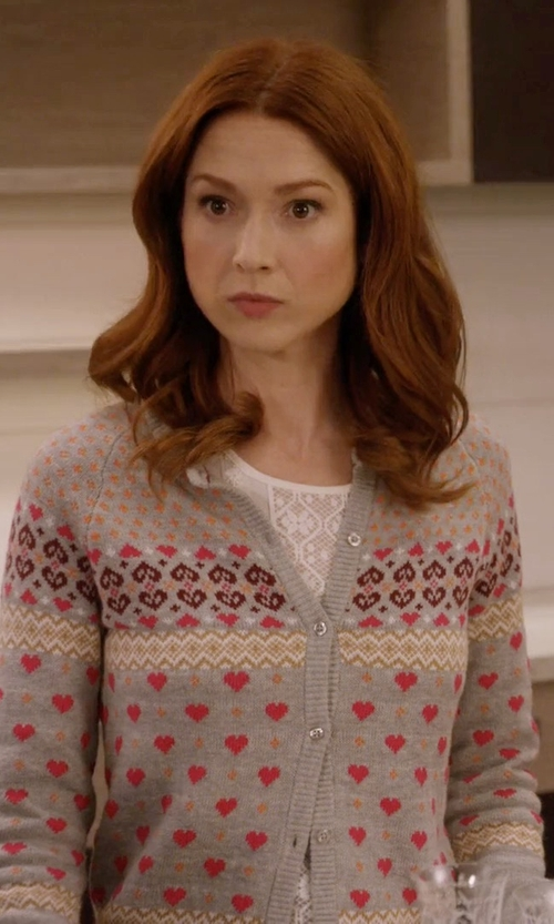 Ellie Kemper with BCBGMAXAZRIA Kensey Lace-Blocked Top in Unbreakable Kimmy Schmidt