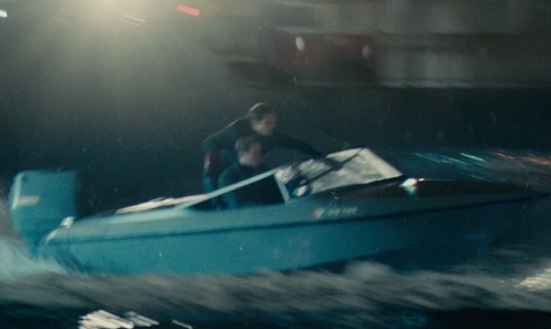 Armie Hammer with Fletcher 15GTO Arrowflash Speed Boat in The Man from U.N.C.L.E.