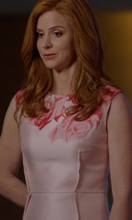 Sarah Rafferty with Giambattista Valli Rose Print Cotton Dress in Suits