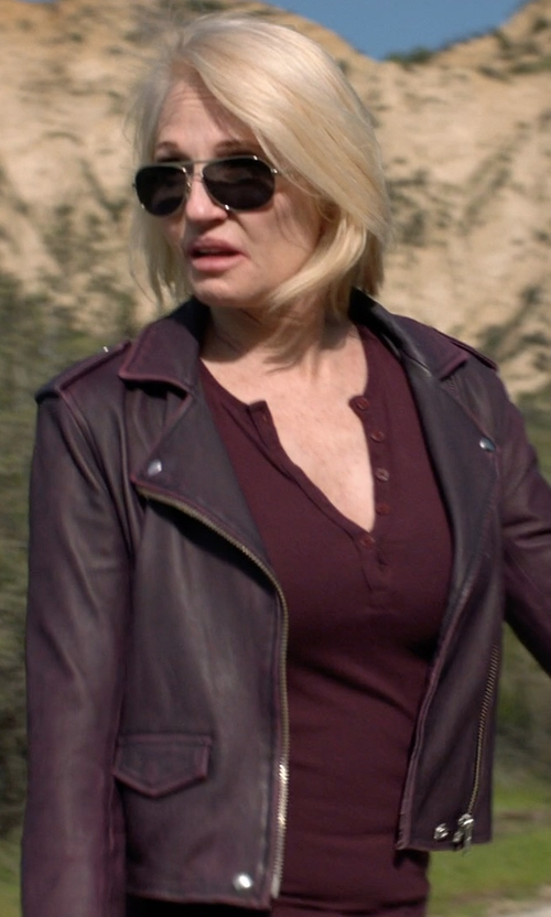 Ellen Barkin with Iro Ashville Leather Moto Jacket in Animal Kingdom