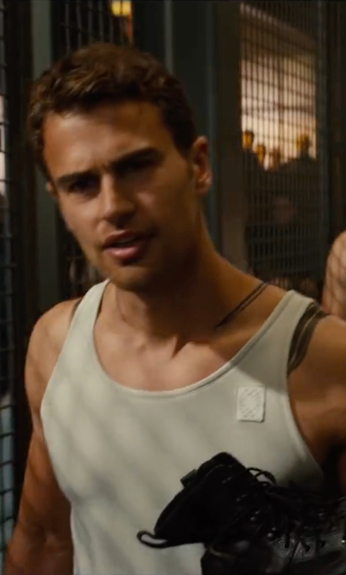 Theo James with Marlene Stewart (Costume Designer) Custom Made Tank Top (Four) in The Divergent Series: Allegiant