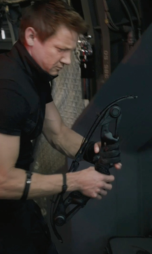 Jeremy Renner with Alexandra Byrne (Costume Designer) Custom Made 'Hawkeye' Gloves in Marvel's The Avengers