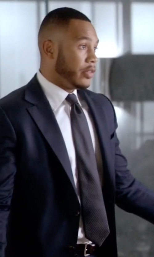 Trai Byers with David Donahue Woven Silk Tie in Empire