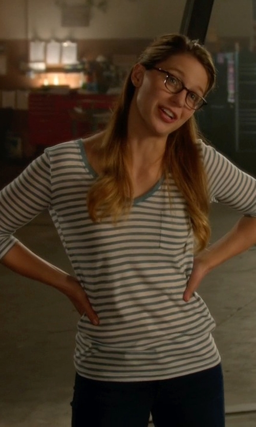 Melissa Benoist with Gap Long-Sleeve Stripe V-Neck Pocket Tee in Supergirl