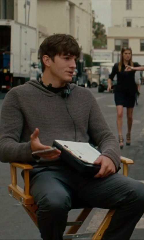 Ashton Kutcher with Paul Smith Jeans Hooded Sweater in No Strings Attached
