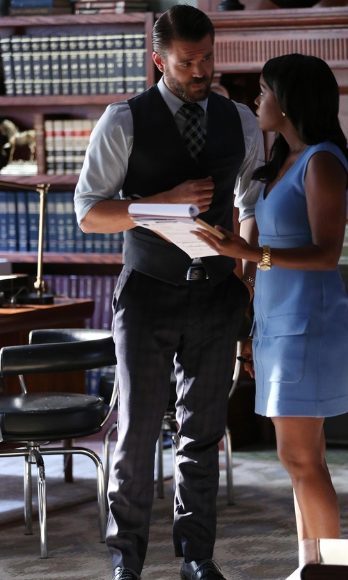 Charlie Weber with Paul Smith Watch Check Wool-Twill Trousers in How To Get Away With Murder