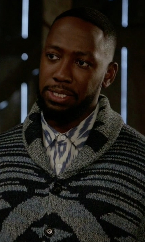 Lamorne Morris with American Rag Graphic-Print Shawl-Collar Cardigan in New Girl