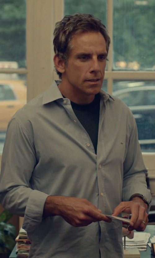 Ben Stiller with Lacoste Slim Fit Poplin Stretch Woven Shirt in While We're Young