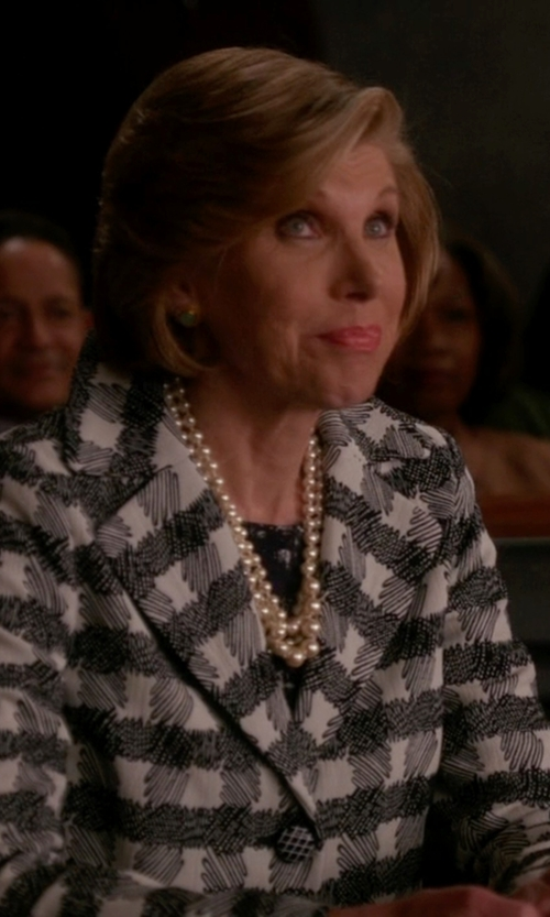 Christine Baranski with Majorica Pearl Strand Necklace in The Good Wife