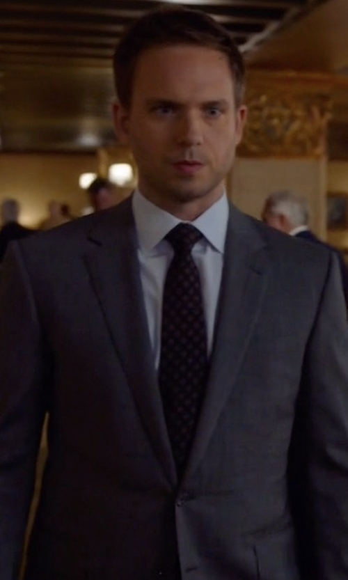 Patrick J. Adams with Canali Sharkskin Super 130s Wool Suit in Suits