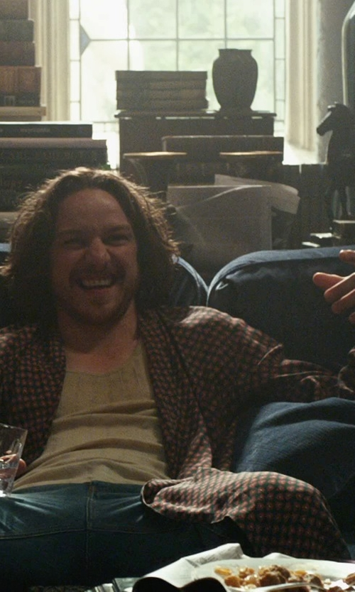 James McAvoy with Derek Rose York Plaid Wool Dressing Gown Robe in X-Men: Days of Future Past