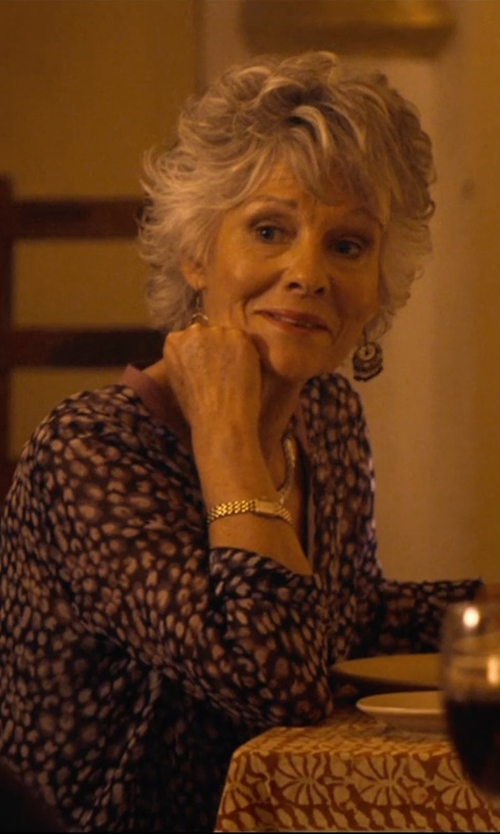 Diana Hardcastle with Mizuki Bead Fringe Hoop Earrings in The Second Best Exotic Marigold Hotel
