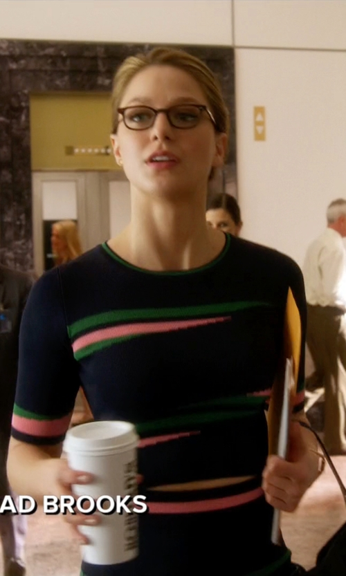 Melissa Benoist with Topshop Eraser Stripe Crop Top in Supergirl