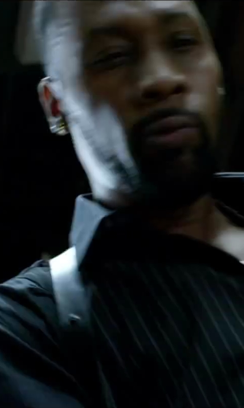 RZA with Ike Behar Men's Black Stripe Barrel Cuff Cotton Dress Shirt in Brick Mansions